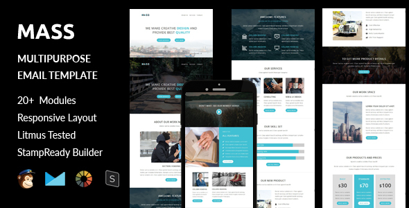 MASS - Multipurpose Responsive Email Template + Stampready Builder Online Access            TFx