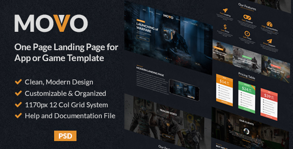 MOVO - One Page Landing page for App or Games PSD Template            TFx