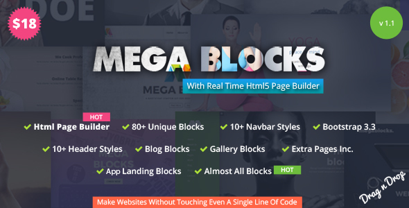 Mega Blocks - Multipurpose Template + Html Page Builder            TFx