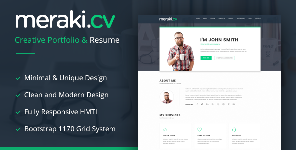 Meraki One Page HTML Resume Template            TFx