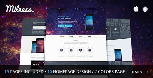 Milness - Showcase Mobile App HTML Template            TFx