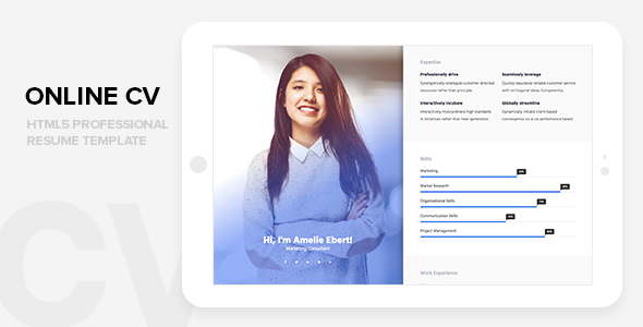 Online CV - Professional HTML CSS Resume Website Template            TFx