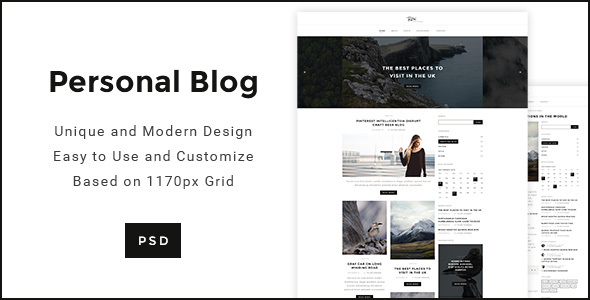 Personal Blog - Modern minimal Personal Blog Template            TFx