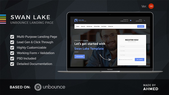 Swan Lake - Marketing Unbounce Template            TFx