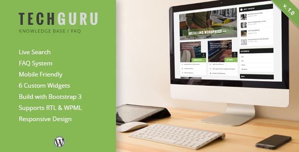 TechGuru - Responsive Knowledge Base FAQ WordPress Theme            TFx