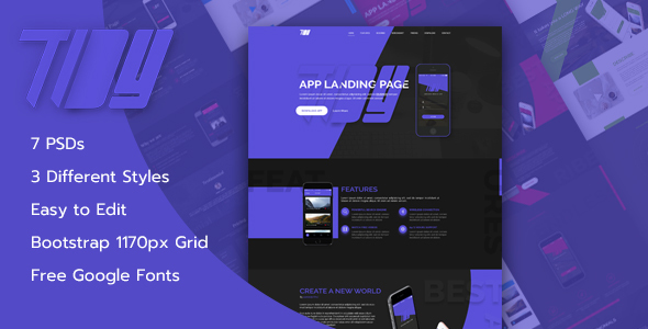 TiDY - Mobile App Landing Page Design - PSD Template            TFx