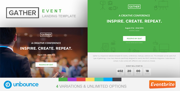 Unbounce Event Landing Page Template - Gather            TFx