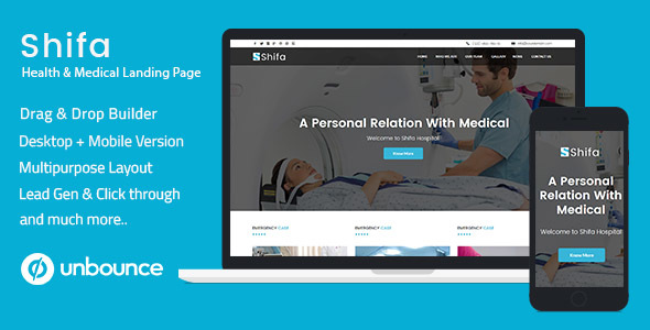 Unbounce Multipurpose Landing Page Template - Shifa            TFx