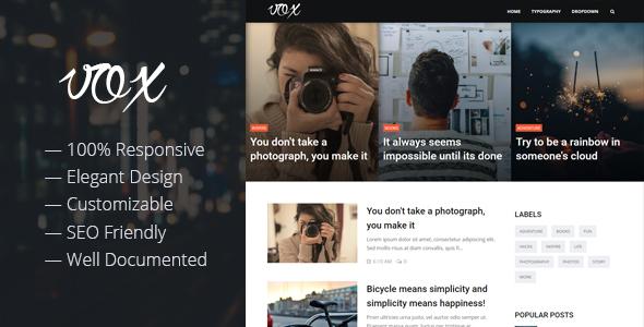Vox - Responsive Magazine & Blog Blogger Template            TFx