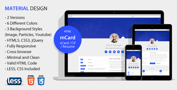 mCard - Material vCard / CV / Resume / Personal Template            TFx
