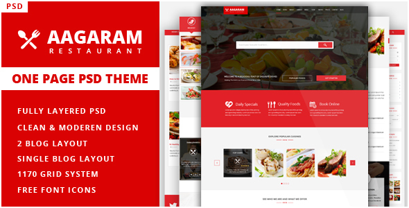 Aagaram - Simple, Clean and Professional One page Restaurant PSD Theme            TFx