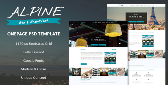 Alpine - Bed and Breakfast Onepage PSD Template            TFx