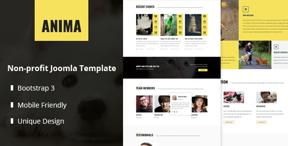 Anima - Responsive Pet Rescue and Shelter Joomla Template            TFx