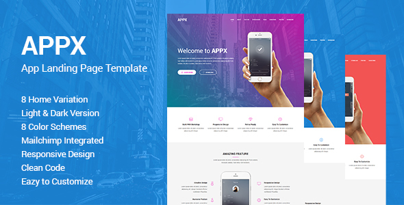 Appx - Responsive App Landing Page Template            TFx