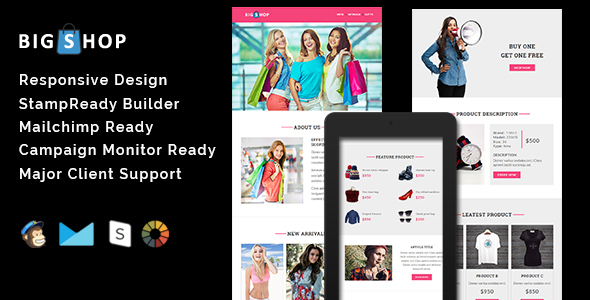 BIGSHOP - Responsive Email Template + Stamp Ready Builder            TFx