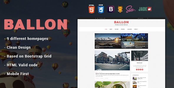 Balloon - Personal Blog HTML Template            TFx