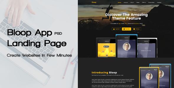 Bloop - PSD App Landing Page            TFx