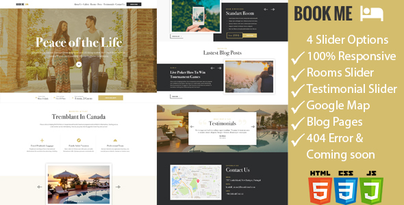 Book Me - One Page Hotel / Resort HTML Template            TFx
