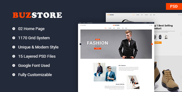 Buzstore - Fashion/Clothing eCommerce PSD Template            TFx