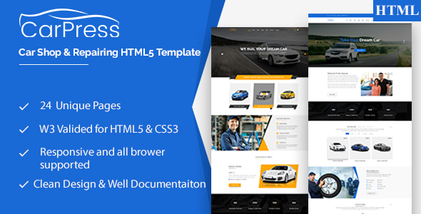 CarPress || For Car Shop and Car Repiar HTML5 Template            TFx