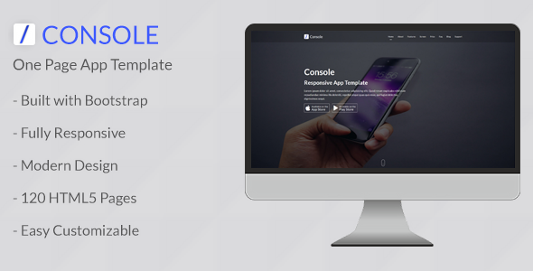 Console - Responsive One Page App Template            TFx