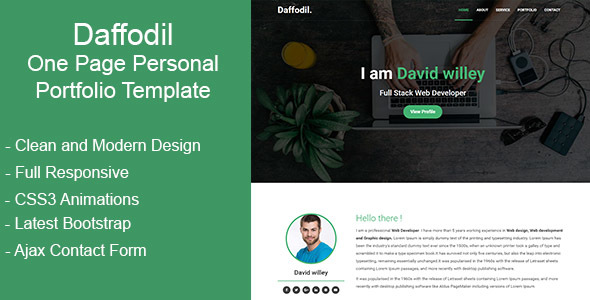 Daffodil - One Page Personal Portfolio Template            TFx