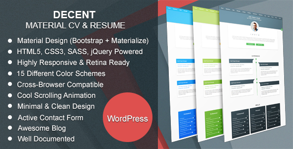 Decent | Material CV & Resume WordPress Theme            TFx