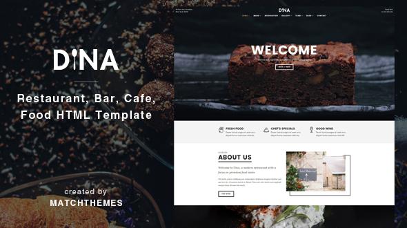 Dina - Restaurant, Bar, Cafe, Food HTML Template            TFx
