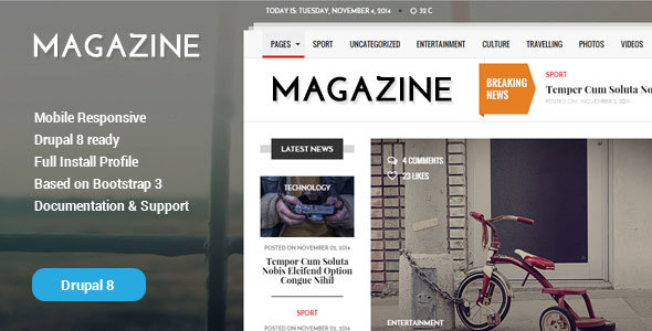Gazeta - News & Magazine Drupal 8 Theme            TFx
