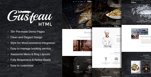 Gusteau – Elegant Food and Restaurant HTML Template            TFx