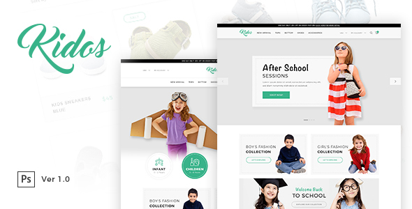 Kidos - Kids Clothing eCommerce PSD Template            TFx