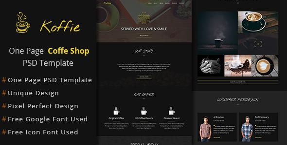 Koffie-Multi-purpose One Page PSD Template            TFx
