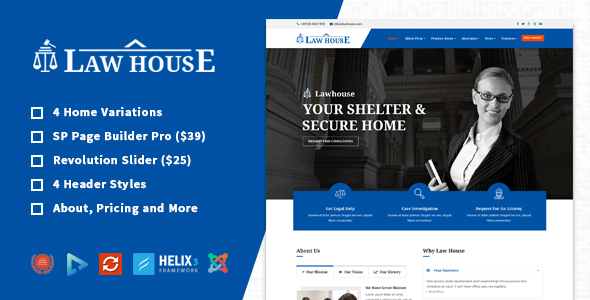 LawHouse - Responsive Lawyers Attorneys Joomla Template            TFx