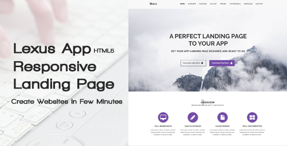 Lexus - HTML5 Responsive App Landing Page            TFx