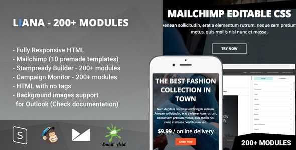 Liana - 200+ Modules - Responsive Email with Mailchimp Editor & StampReady Builder            TFx