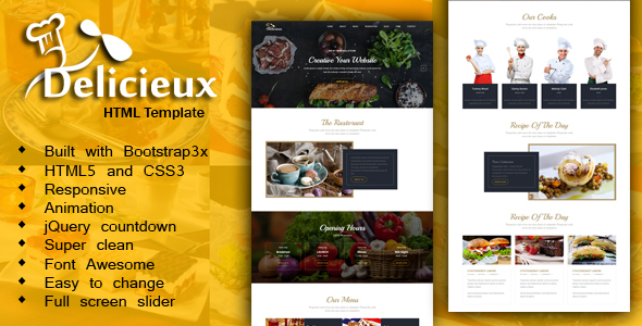 Mega Delicieux - Restaurant and Food HTML5 Template            TFx