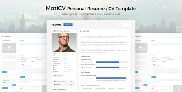 MotiCV - Resume / CV HTML5 Template            TFx