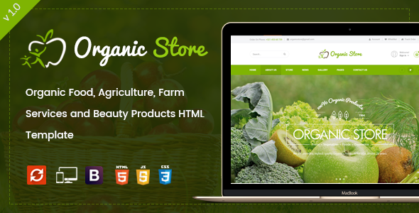 Organic Store -  Organic Food, Agriculture, Farm Services and Beauty Products HTML Template            TFx
