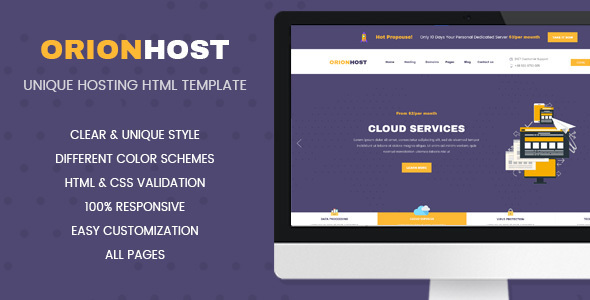 OrionHost - Web Hosting Domain Technology Responsive HTML Template            TFx