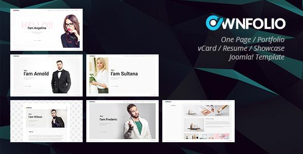 OwnFolio - One Page Personal Portfolio / vCard / Resume / Showcase Joomla Template            TFx