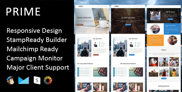 Prime - Multipurpose Responsive Email Template + Stampready Builder            TFx