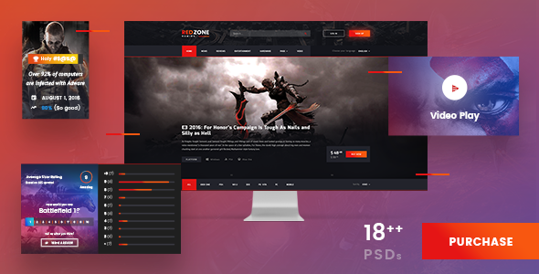 Red Zone - Game PSD Template (Blog, Review, Portal, Community)            TFx
