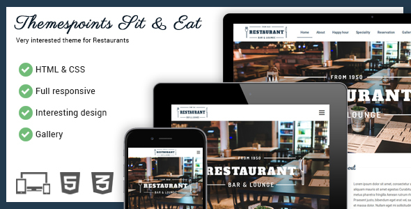 Sit & Eat - Restaurant Responsive Website Template            TFx