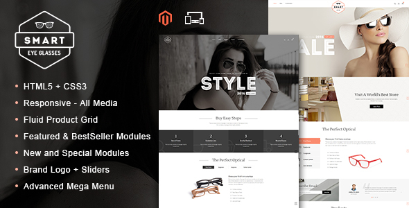 Smart Eye Glasses - Responsive Magento Theme            TFx