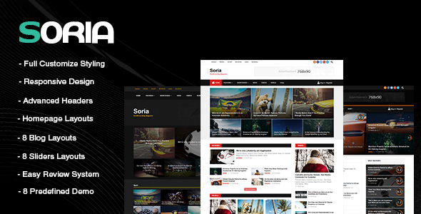 Soria - Responsive WordPress Blog Magazine Template            TFx
