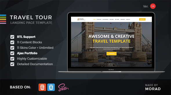 Travel Tour - Travel, Tourism & Agency HTML Landing Page            TFx