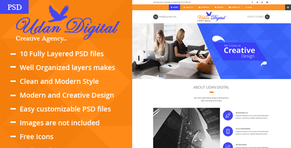 Udan Digital – Creative Agency PSD Template            TFx