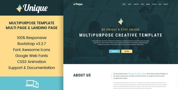 Unique - Corporate Multipurpose HTML Templates            TFx