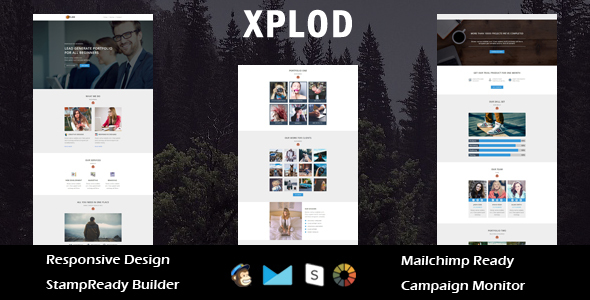 XPLOD- Multipurpose Responsive Email Template + Stamp Ready Builder Online Access            TFx