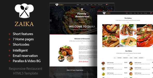 Zaika - Food & Restaurant HTML5 Template            TFx